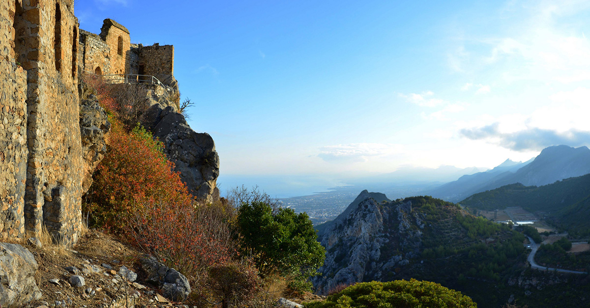 the view at St Hilarion overlooking mountains Cyprus