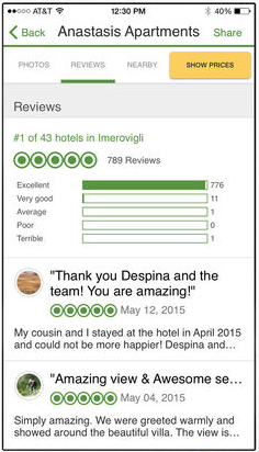 screenshot of TripAdvisor App