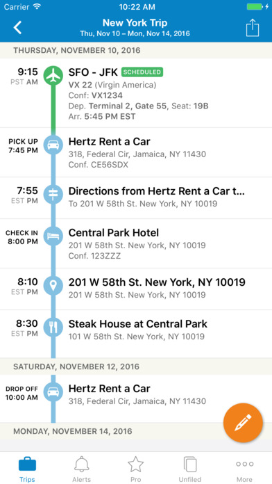 screenshot of Tripit app for iPhone