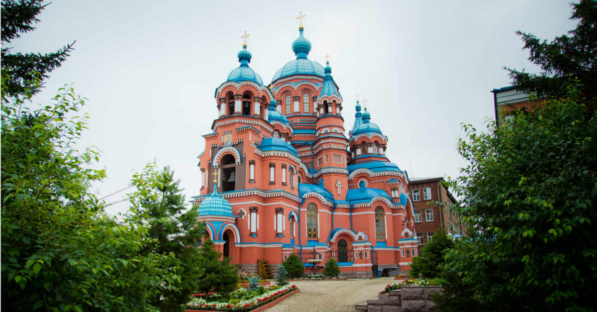 Distant view of the Kazan Cathedral in Irkutsk, Russia