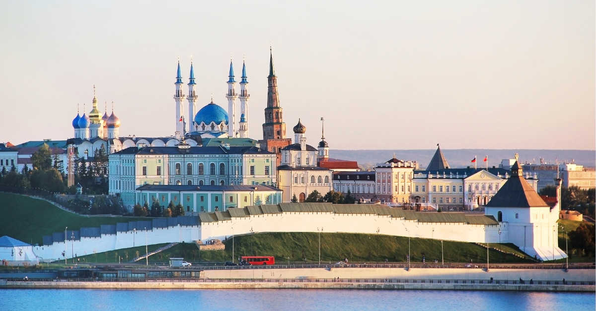View of the Kazan Kremlin with: Presidential Palace, Soyembika Tower, Annunciation Cathedral, Qolsharif Mosque from the Kazanka River.