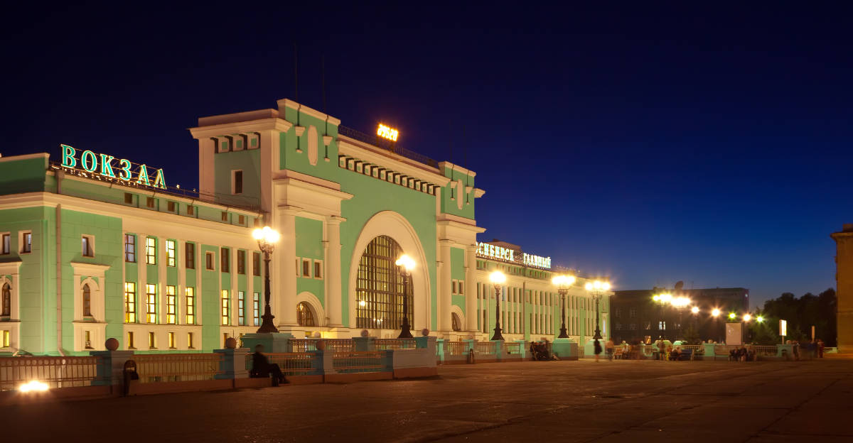 night view of main railway station at Novosibirsk, Russia