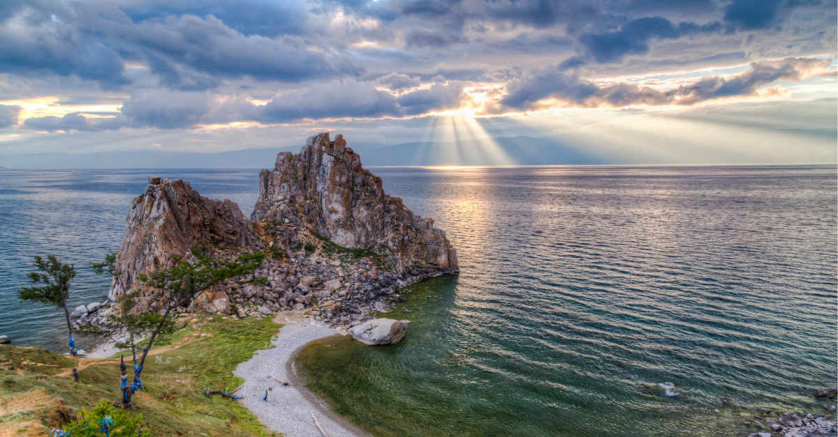 View of Shaman Rock on the shore of Lake Baikal in Russia