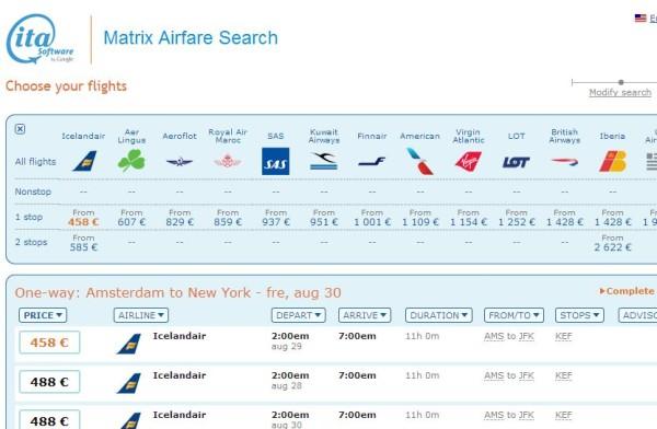 Screenshot of ITA Matrix Price Comparison Result
