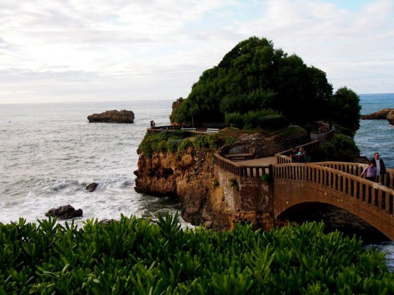 Bridge crossing over to small island in Biarritz, France