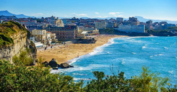 Biarritz, France in the distance with beaches and oceans
