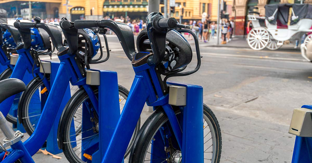 A bike share station in Melbourne Australia