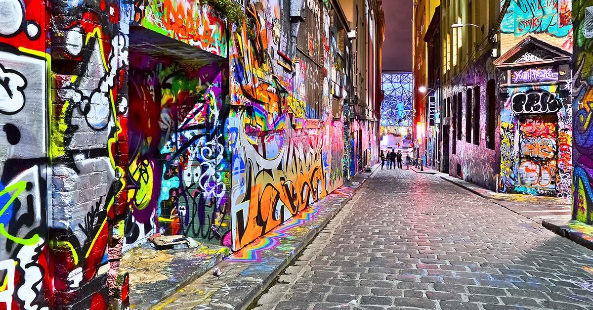 Street art on Hosier Lane in Melbourne Australia