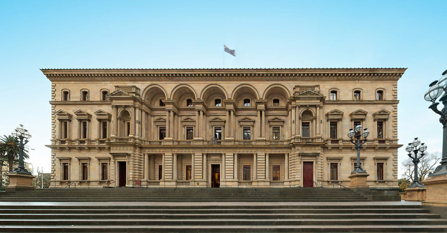 Street view of the Old Treasury Building in Melbourne Australian