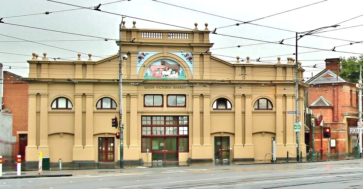 Street view of Queen Victoria Market in Melbourne Australia