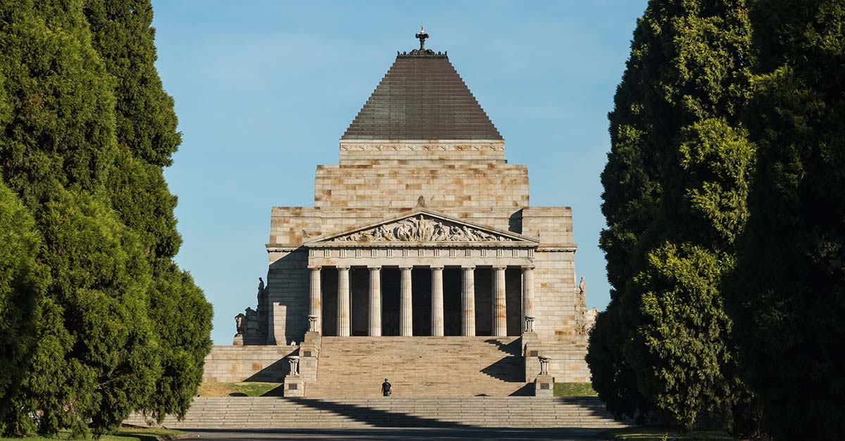 A distant view of the Shrine of Remembrance in Melbourne Australia