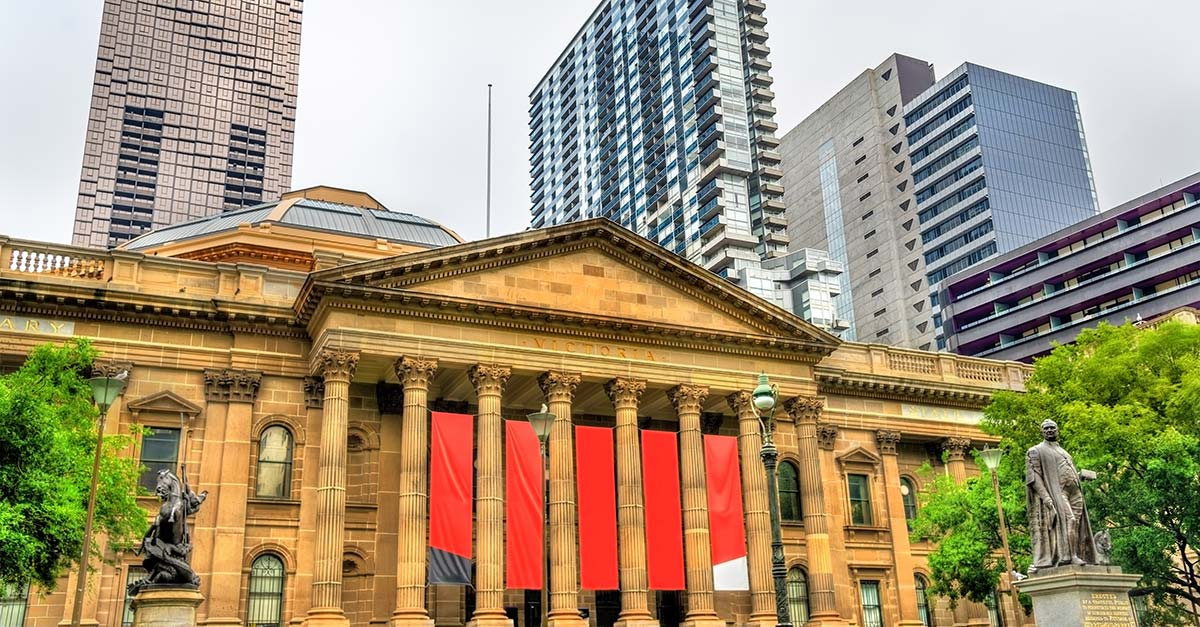 Image of the street of the State Library of Victoria in Melbourne Australia