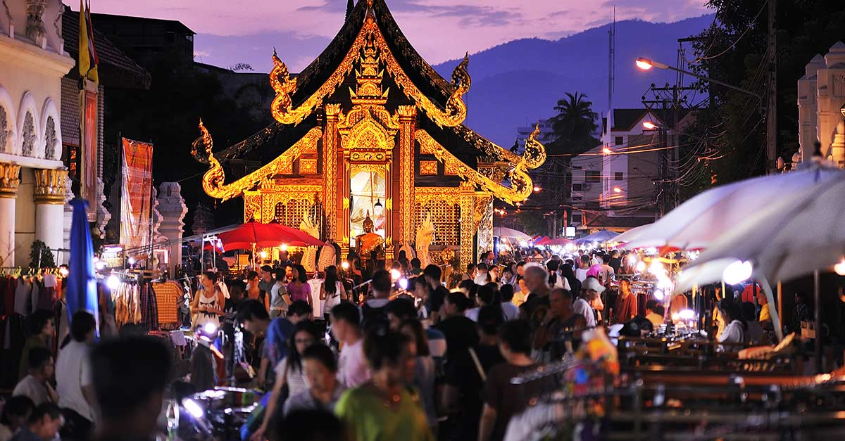 View of some street stalls in Chiang Mai Thailand