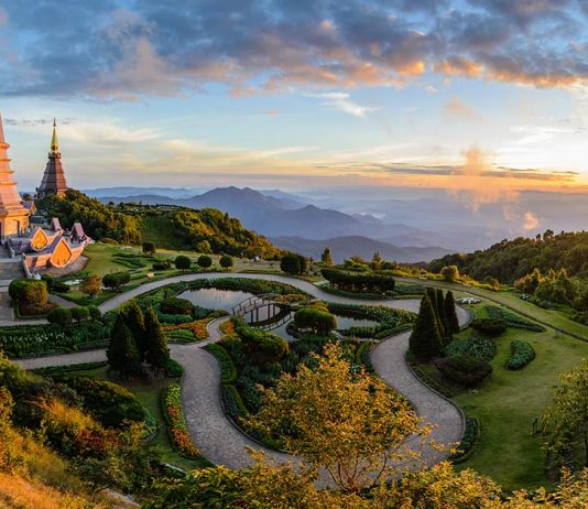 Scenic view of Doi Inthanon National Park at sunrise in Chiang Mai Thailand