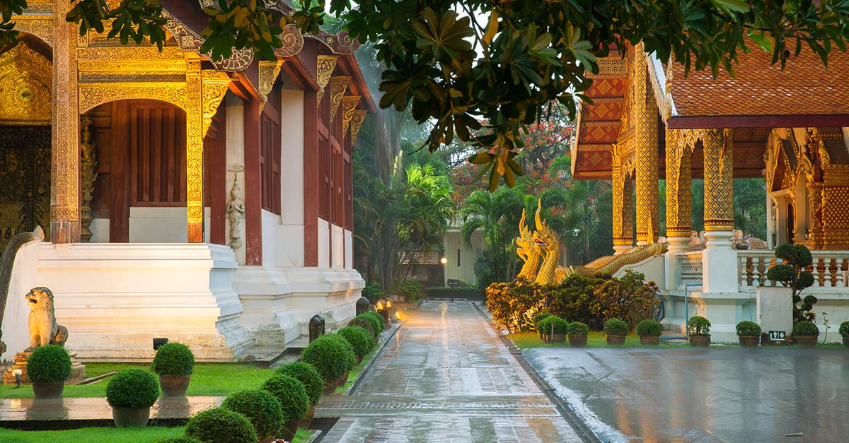 Street view of Wat Phra Singh Temple in Chiang Mai Thailand