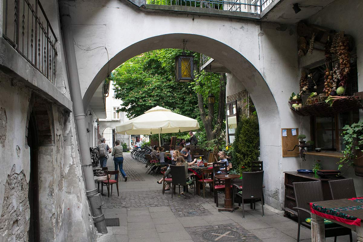 View of a street cafe in Krakow Poland