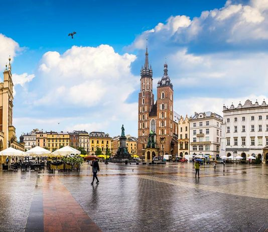 view of an open square in Krakow Poland