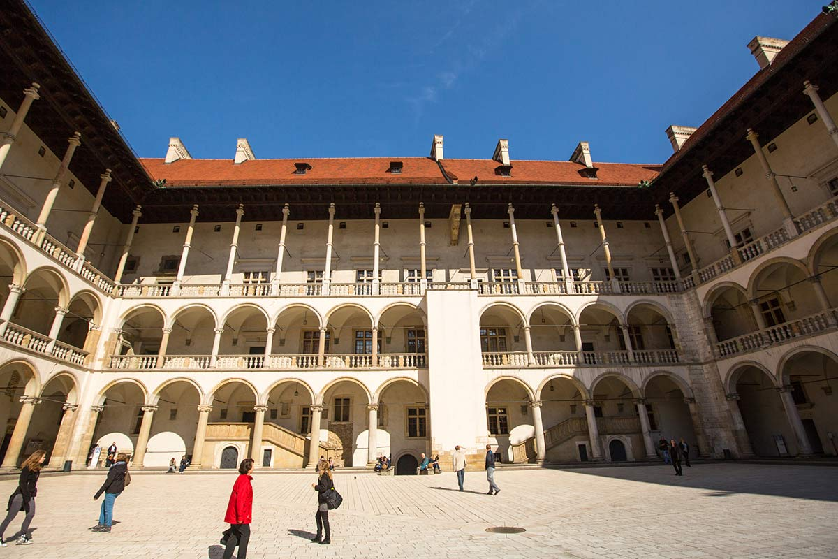 View of the courtyard in Wawel Castle in Krakow Poland