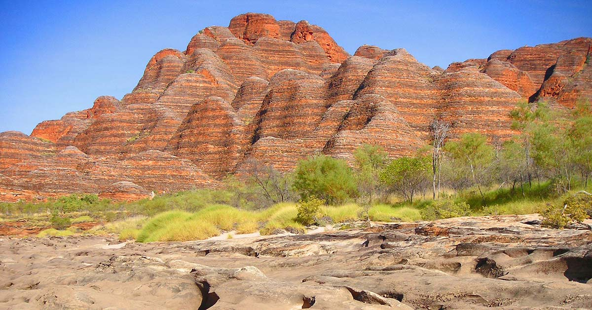 View of the red rocks at Bungle Bungle in the Keep River National Park, Northern Territory, Australia