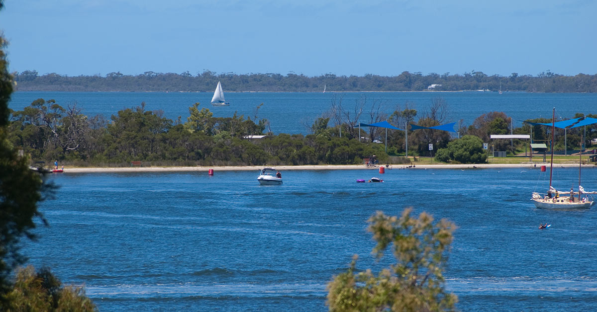 View of the Gippsland Lakes in Victoria Australia