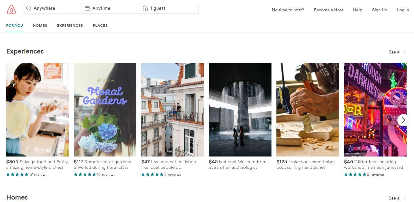 a screenshot of Airbnb's website