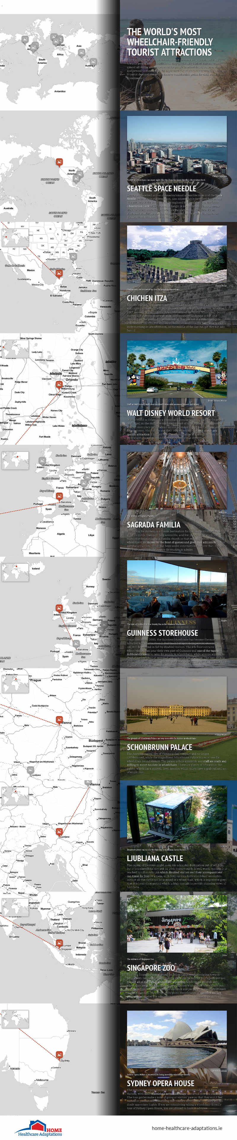 Infographic showing the world's most wheelchair-friendly tourist attractions