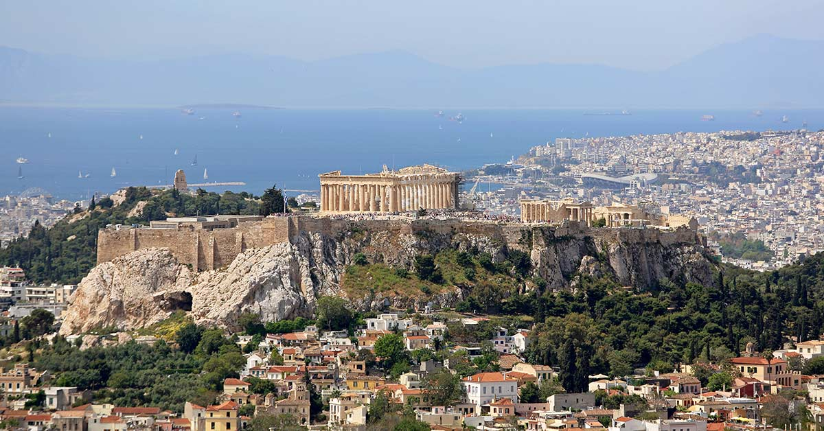 Distance view of Athens, Greece and the Acropolis