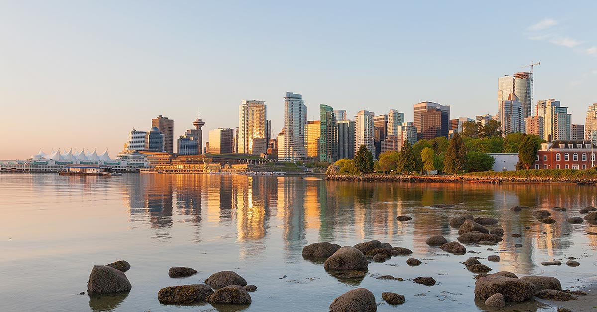 Cityscape of Vancouver British Columbia in Canada