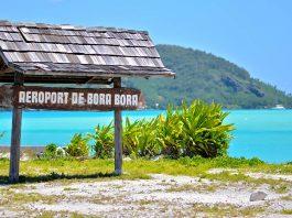 "A sign at the airport in Bora Bora that says ""Airport of Bora Bora"""