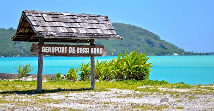 A sign at the airport in Bora Bora that says