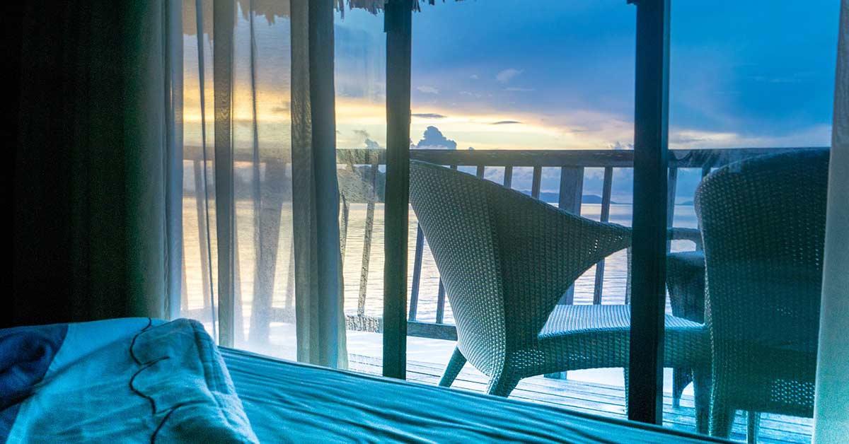 A hotel room in Bora Bora overlooking a beach