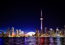 The Toronto, Canada skyline at night
