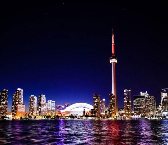 The Toronto, Canada skyline at night