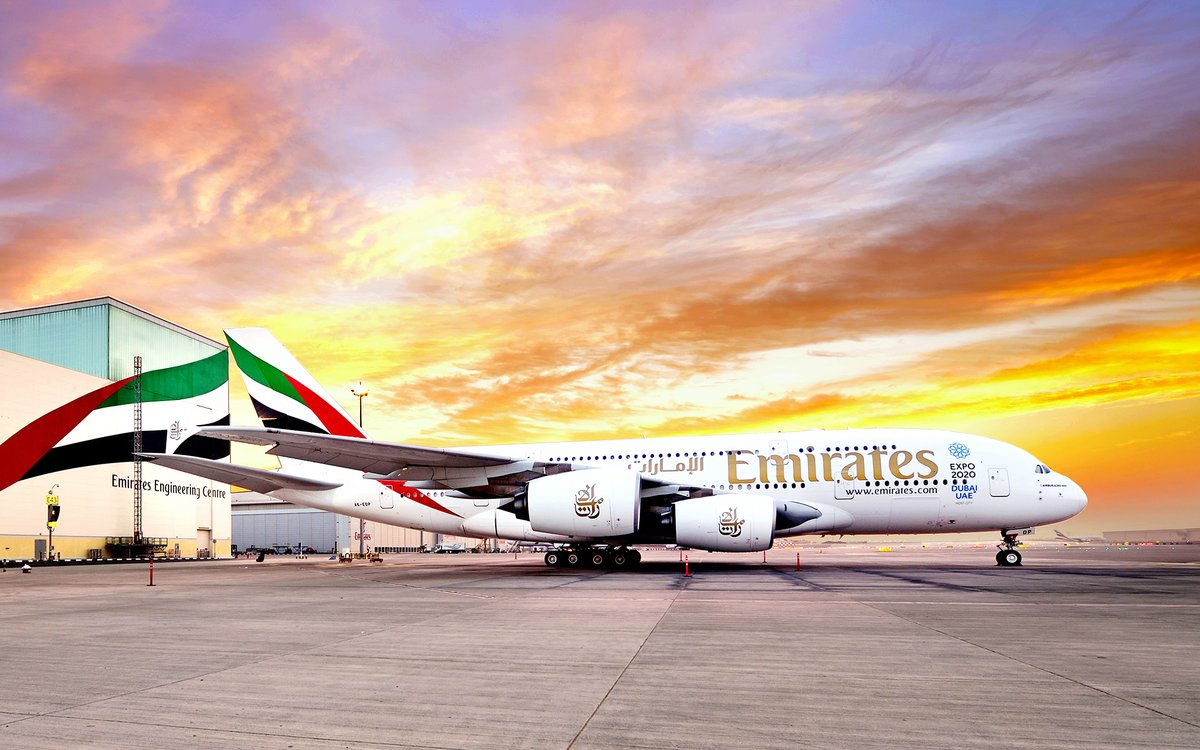 An Emirates Airbus A380 on the runway at an airport