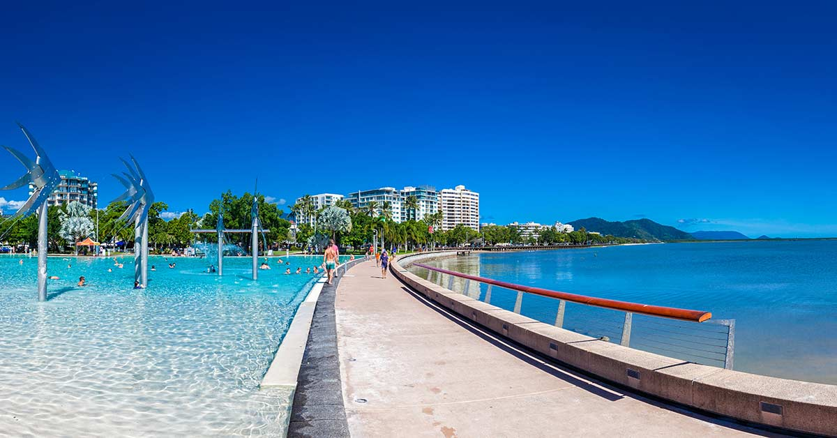 a view of the esplanade in Cairns, Australia