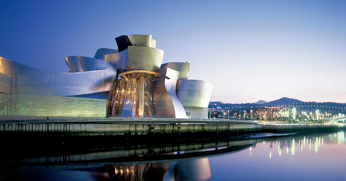 A view of the Guggenheim Museum next to the river in Bilbao Spain