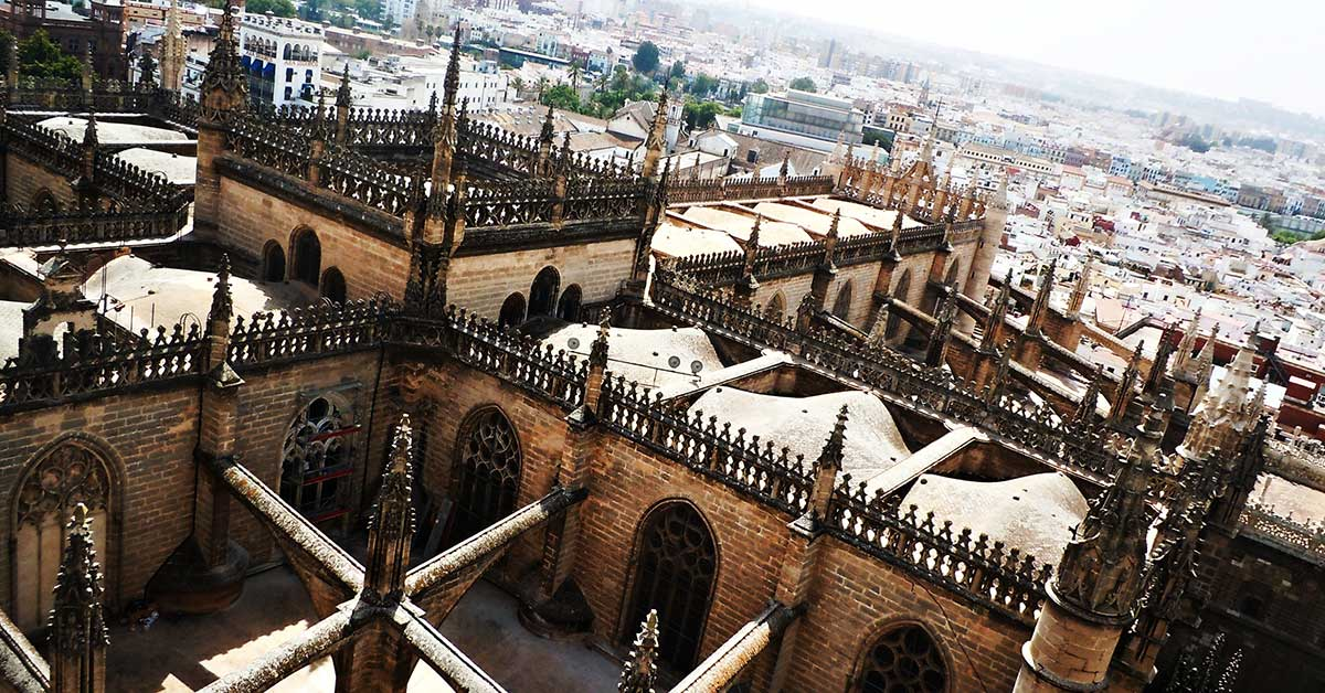 View of the top of the Cathedral in Seville Spain
