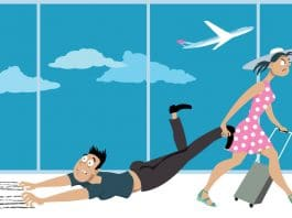 Illustration of woman dragging man through airport because the man is afraid of flying