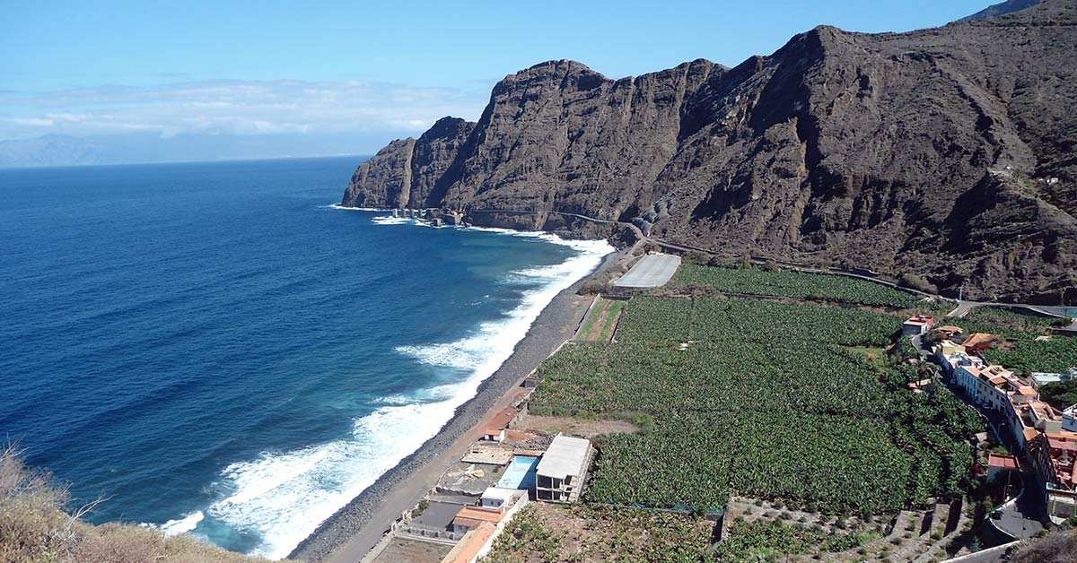 One of the many black sand beaches on the island of Gomera in the Canary Islands