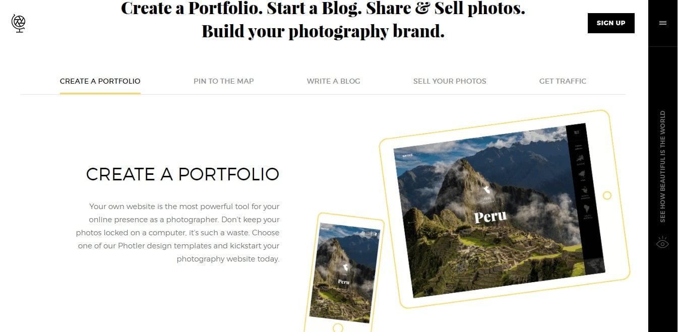 Screenshot of the Photler website