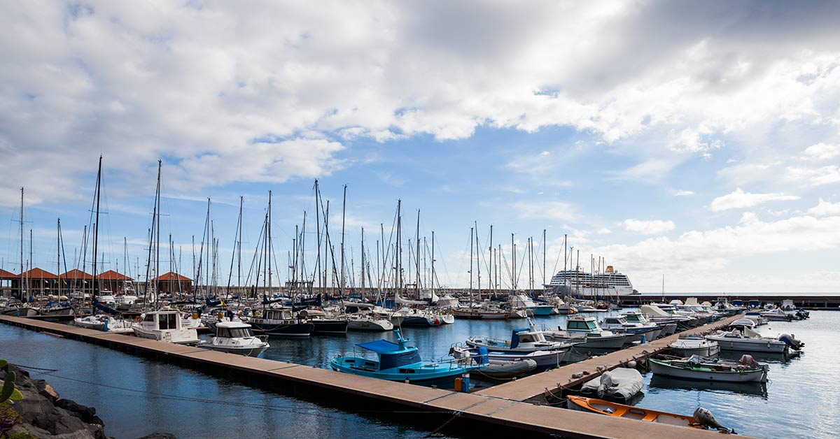 Sail boats in the port of San Sabastian on Gomera in the Canary Islands