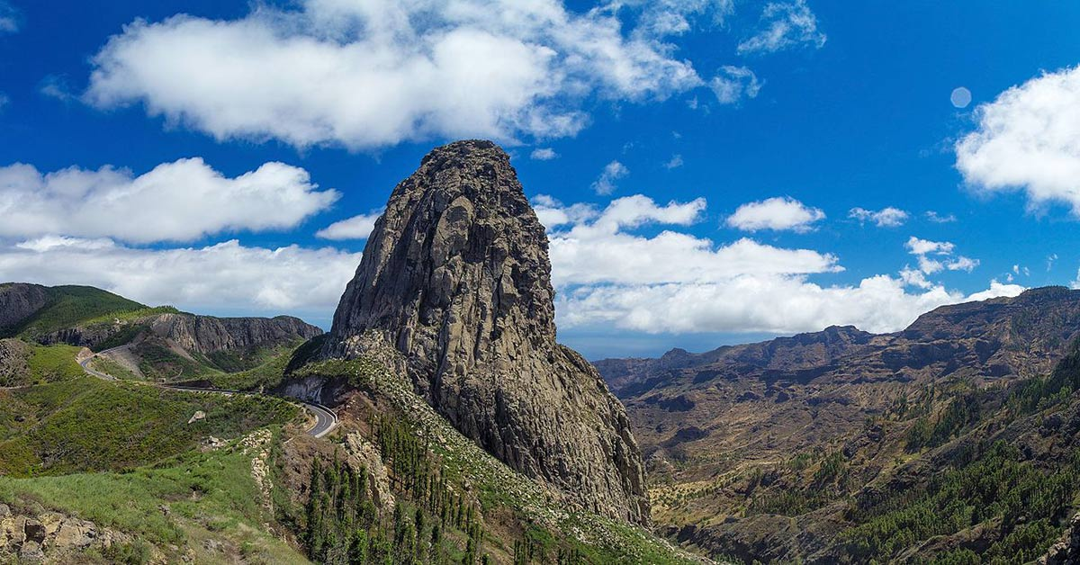View of Roque de Agando on island of Gomera in the Canary Islands