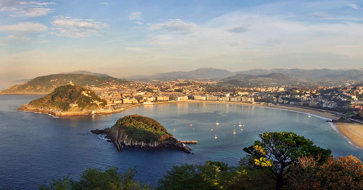 A view of the bay in San Sebastian Spain which is one of Europe's most popular surf destinations