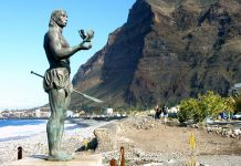 Statue on the island of Gomera in the Canary Islands
