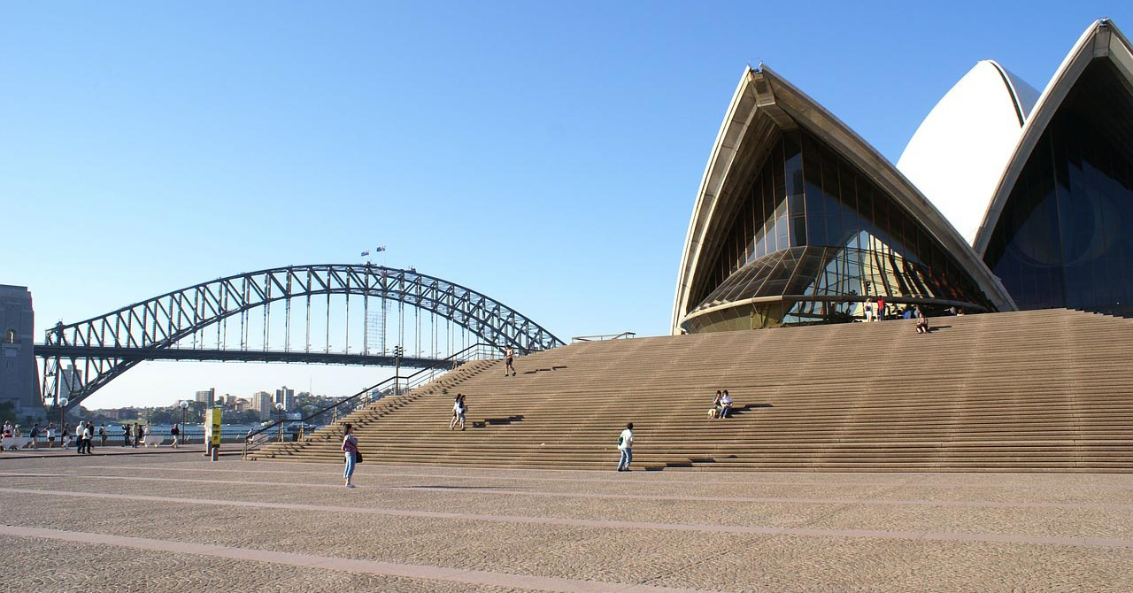 A view of the steps leading up to the Sydney Opera House