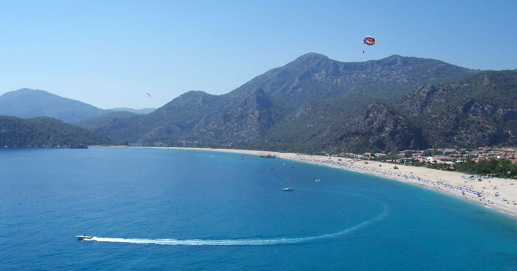 Parasailing at the honeymoon destination of Oludeniz Beach Turkey