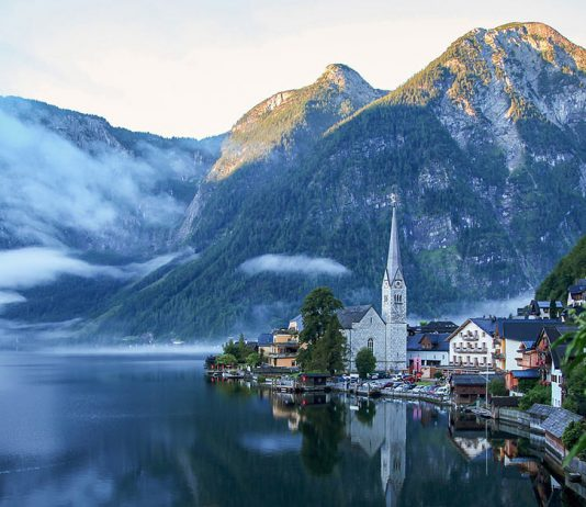 The scenic lake town of Hallstatt Austria with mountains in the background