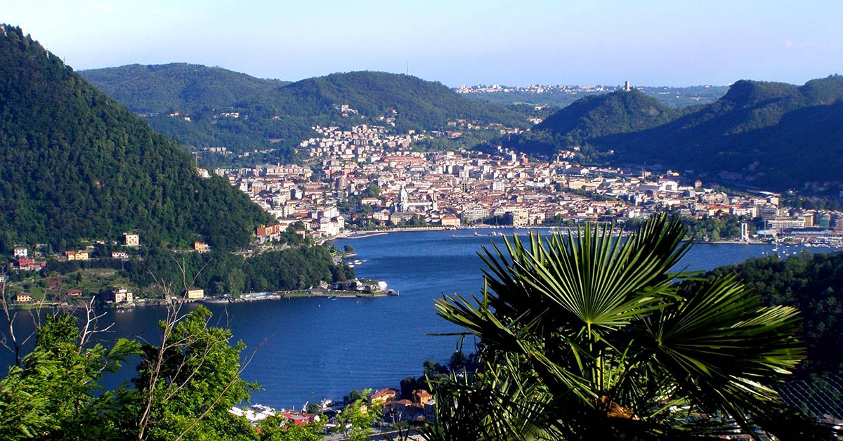 View of the city of Como on Lake Como, Italy