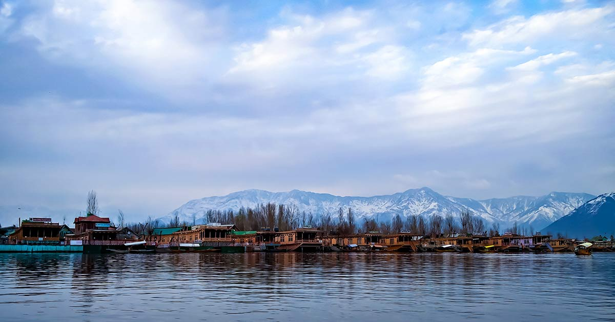 View of the city of Srinagar on Dal Lake in India