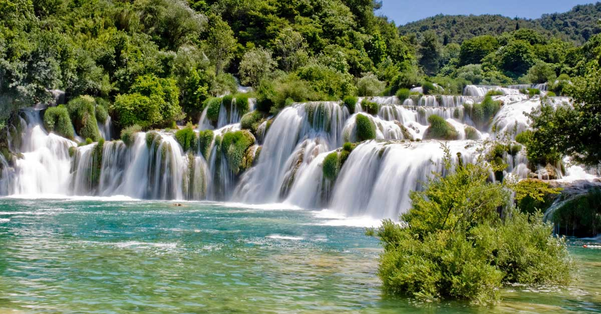 Beautiful waterfalls in Krka National Park in Croatia